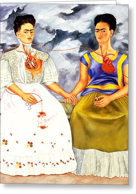 Reproduction Greeting Cards - Frida Kahlo The Two Fridas Greeting Card by Pg Reproductions