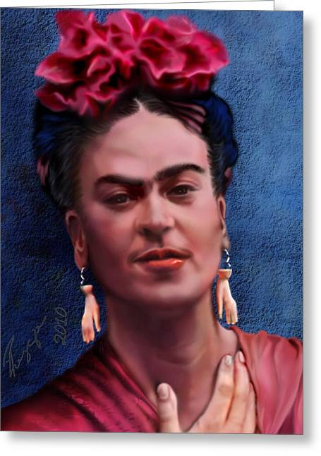 Hispanic Artists. Greeting Cards - Frida Greeting Card by Reggie Duffie