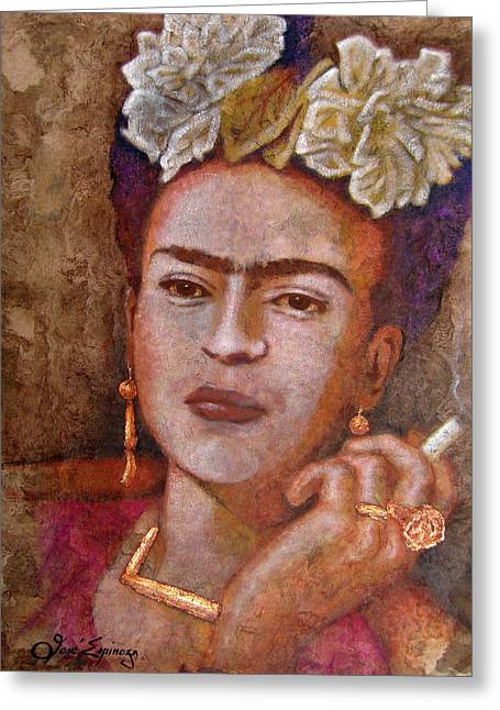 Bark Paper Prints Greeting Cards - Frida Smoking Greeting Card by Jose Espinoza