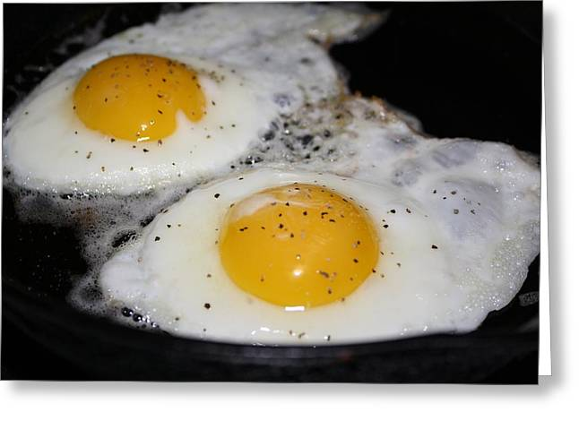 Over Easy Greeting Cards - Fried Eggs Greeting Card by Unknown