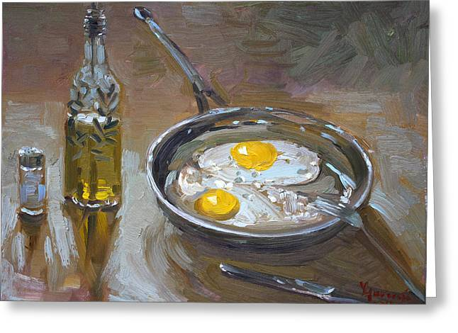 Fries Greeting Cards - Fried Eggs Greeting Card by Ylli Haruni