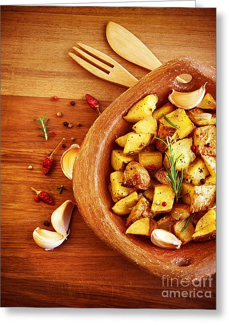 Wooden Bowl Greeting Cards - Fried potato Greeting Card by Anna Omelchenko