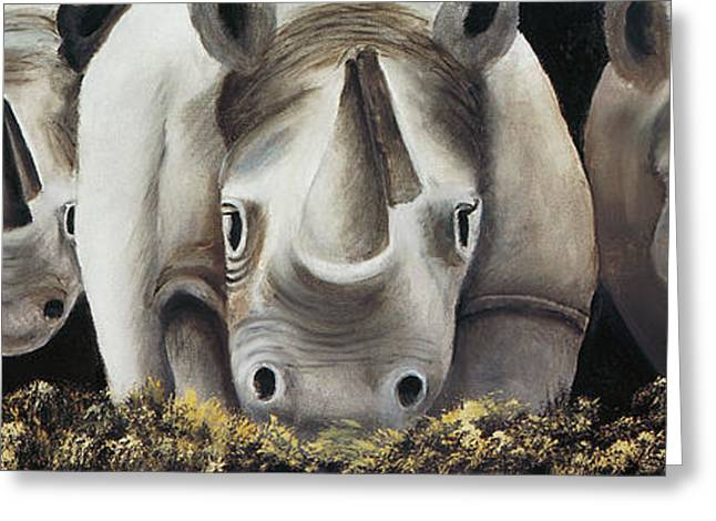 Recently Sold -  - Rhinoceros Greeting Cards - Friendly 01 Greeting Card by Terry Lewey