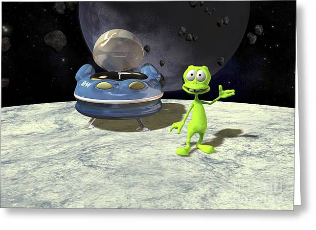 Cartoon Alien Greeting Cards - Friendly Alien Greeting Card by Friedrich Saurer and Photo Researchers