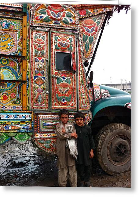 Fareeha Khawaja Greeting Cards - Friends - Take me for a ride in your Jingly Truck Greeting Card by Fareeha Khawaja
