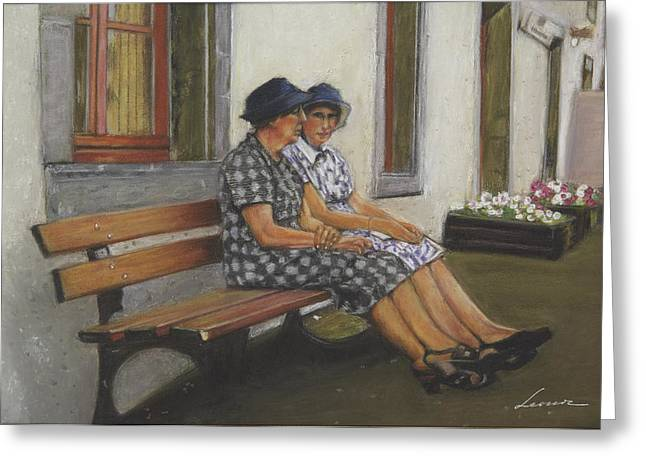 Talking Pastels Greeting Cards - Friends seated in bench Greeting Card by Leonor Thornton