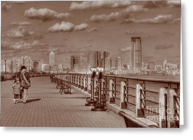 Going For A Walk Greeting Cards - Friends Sepia Greeting Card by Lee Dos Santos