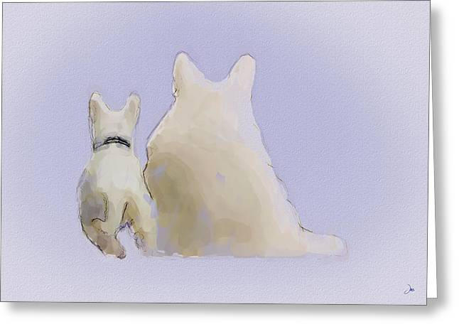 Puppy Digital Greeting Cards - Friendship Greeting Card by Ron Jones