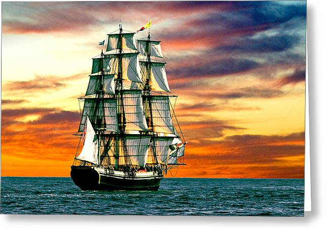 Schooner Greeting Cards - Friendship Sunset Greeting Card by Fred LeBlanc