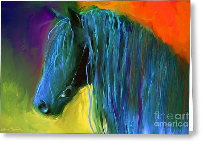 Svetlana Novikova Digital Art Greeting Cards - Friesian Horse painting 2 Greeting Card by Svetlana Novikova