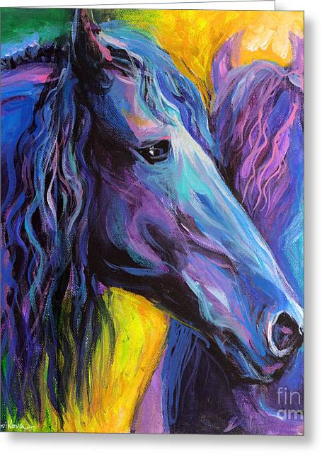 Horse Art Pastels Greeting Cards - Friesian horses painting Greeting Card by Svetlana Novikova