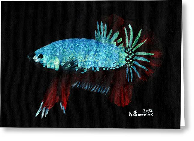 Betta Paintings Greeting Cards - Frilled Blue Moonstone Greeting Card by Kayleigh Semeniuk