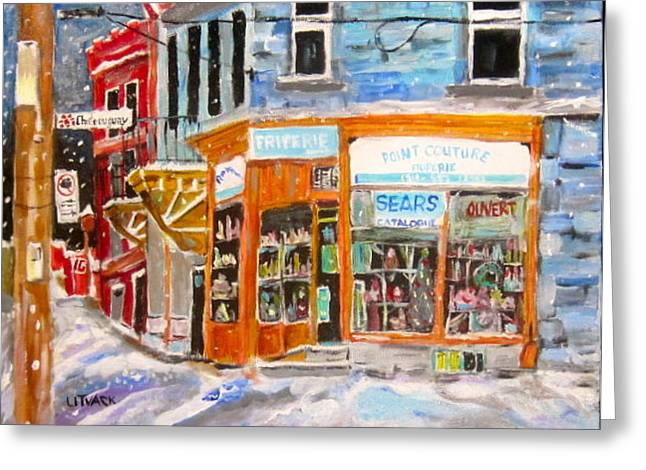 Michael Litvack Greeting Cards - Friperie Point Couture Greeting Card by Michael Litvack