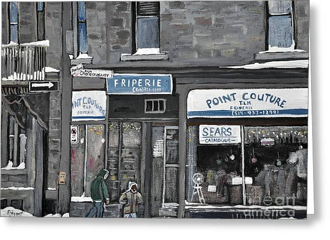 Quebec Streets Paintings Greeting Cards - Friperie Point Couture Pte St. Charles Greeting Card by Reb Frost