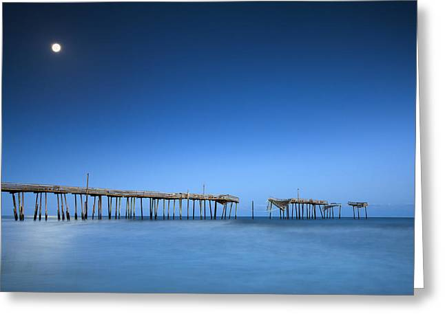 Moon Beach Greeting Cards - Frisco Pier Cape Hatteras Outer Banks NC - Crossing Over Greeting Card by Dave Allen