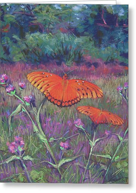 Butterflies Pastels Greeting Cards - Fritillaries Greeting Card by Barbara Richert
