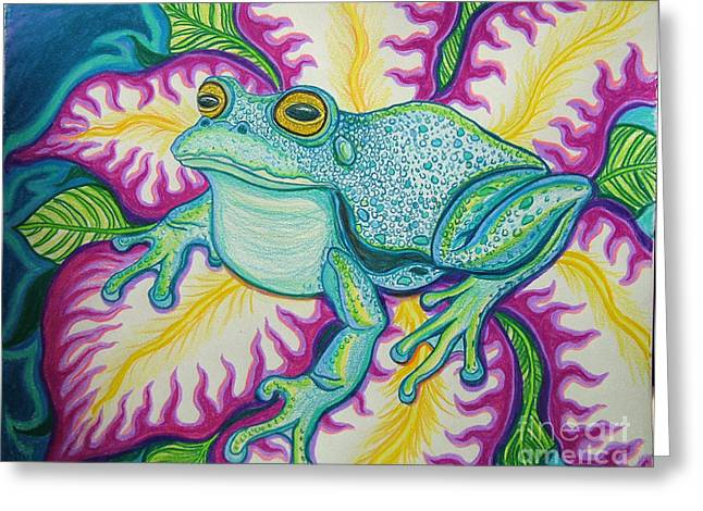 Amphibians Drawings Greeting Cards - Frog and Flower Greeting Card by Nick Gustafson