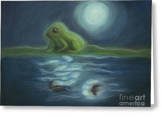 Amphibians Pastels Greeting Cards - Frog Curse Greeting Card by Cassandra Geernaert