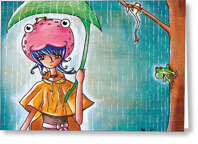 Poncho Paintings Greeting Cards - Frog Girl Greeting Card by Jen Kiddo