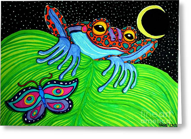 Amphibian Mixed Media Greeting Cards - Frog Moon and Butterfly Greeting Card by Nick Gustafson