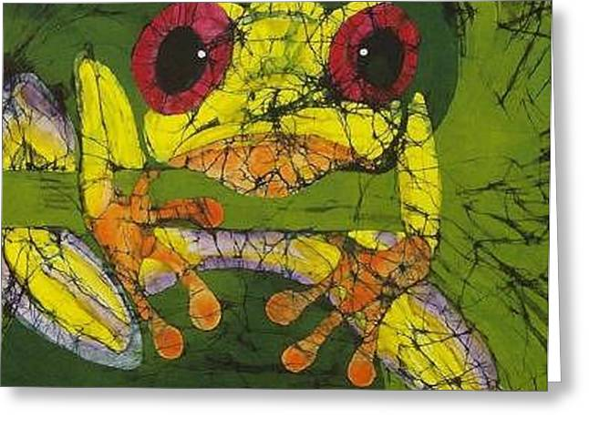 Fine Art Tapestries - Textiles Greeting Cards - Frog on Ginko Fine Art Batik Greeting Card by Kay Shaffer