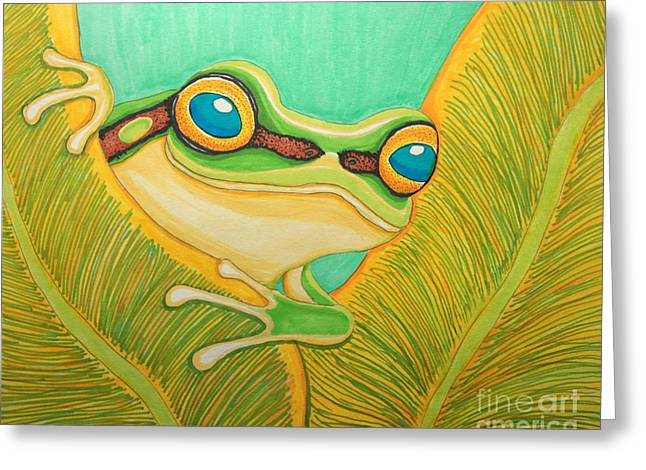 Amphibians Drawings Greeting Cards - Frog Peeking Out Greeting Card by Nick Gustafson