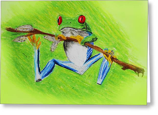 Amphibians Pastels Greeting Cards - Frog Greeting Card by Serene Maisey