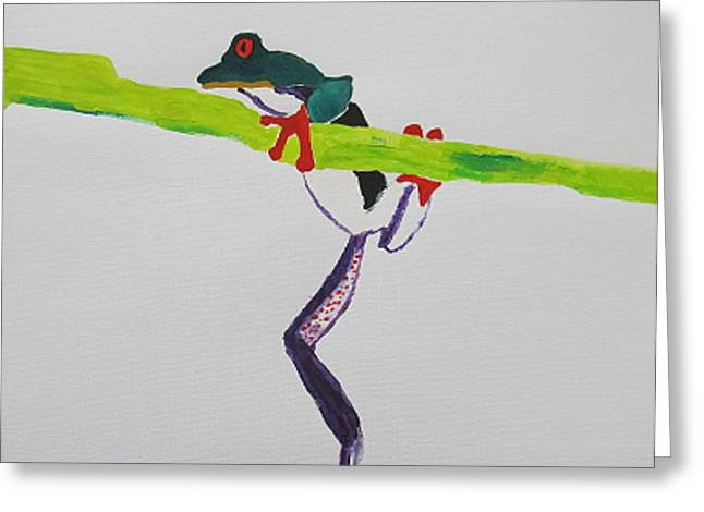 Amphibians Pastels Greeting Cards - Frog Greeting Card by Vivekanand Murthy