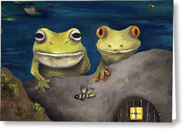 Tadpole Greeting Cards - Frogland Detail Greeting Card by Leah Saulnier The Painting Maniac