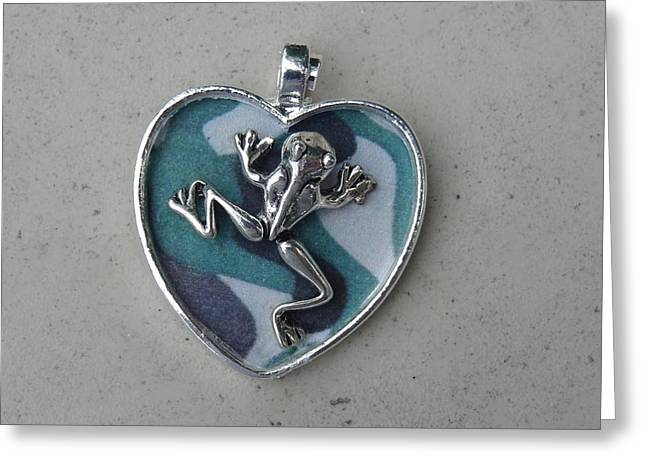 Heart Jewelry Greeting Cards - Frogman Greeting Card by Jessica Cruz