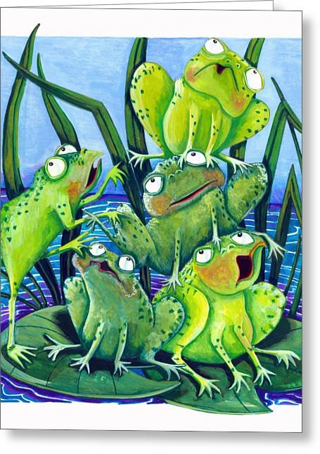 Lilly Pads Greeting Cards - Frogs Greeting Card by Ilene Richard