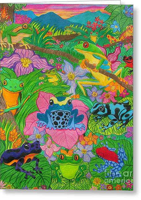 Amphibians Drawings Greeting Cards - Frogsfrogsfrogs Greeting Card by Nick Gustafson