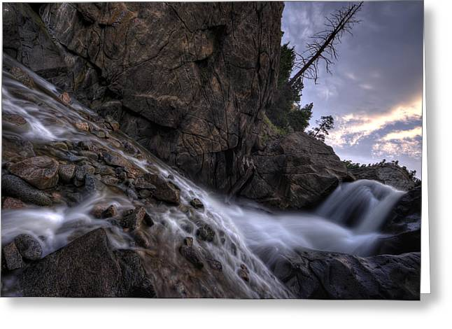 Veiled Greeting Cards - From dark to light on the Boulder Falls Greeting Card by Shane Linke