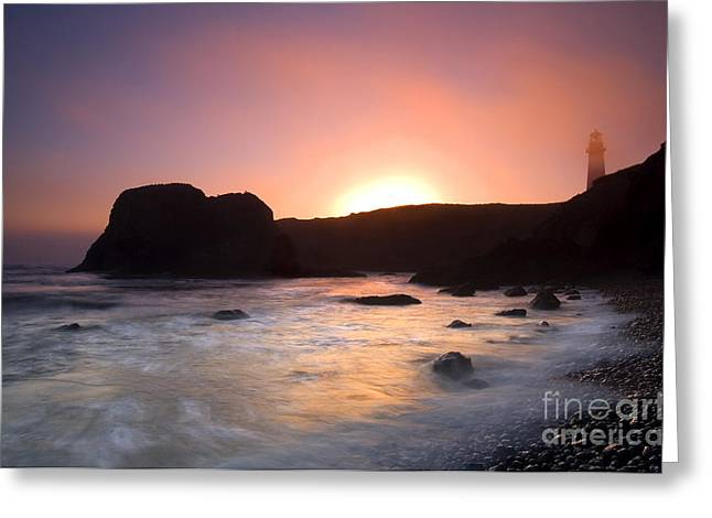 Yaquina Head Lighthouse Greeting Cards - From Light to Light Greeting Card by Mike  Dawson