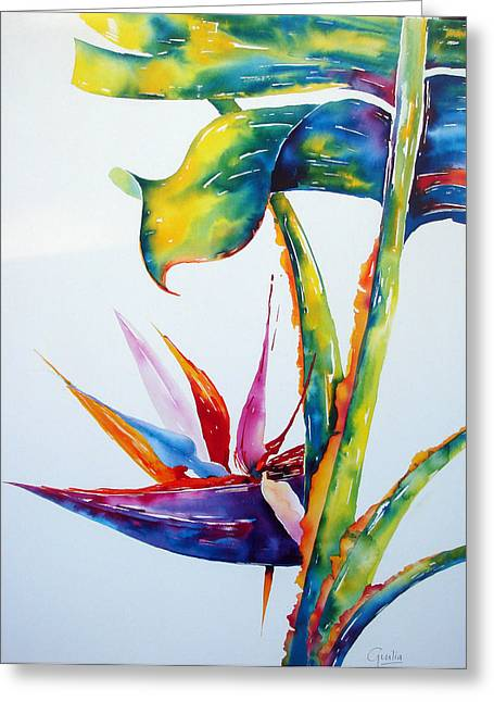 Strelitzia Paintings Greeting Cards - From my Window 2 Greeting Card by Julia Forman