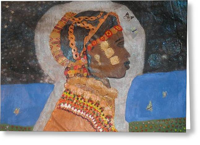 African-american Tapestries - Textiles Greeting Cards - From Princess to Queen Greeting Card by Yolanda Banks Femininity Wear Productions