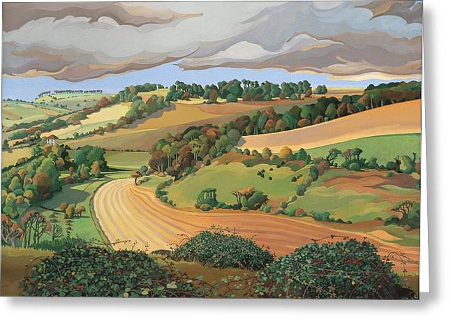 Somerset Greeting Cards - From Solsbury Hill Greeting Card by Anna Teasdale