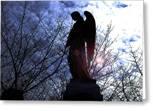 Night Angel Greeting Cards - From the darkness to the light Greeting Card by Steavon Horne