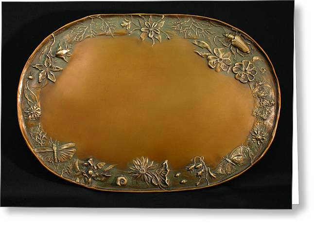 Wildlife Reliefs Greeting Cards - From the Foothills Bronze Tray Greeting Card by Dawn Senior-Trask