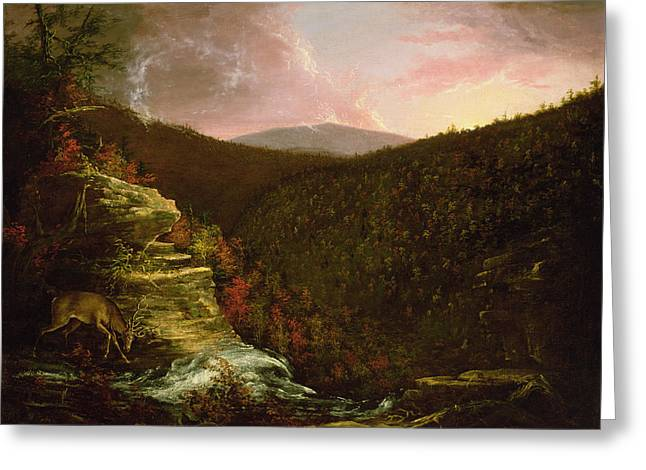 Elk Wildlife Greeting Cards - From the Top of Kaaterskill Falls Greeting Card by Thomas Cole