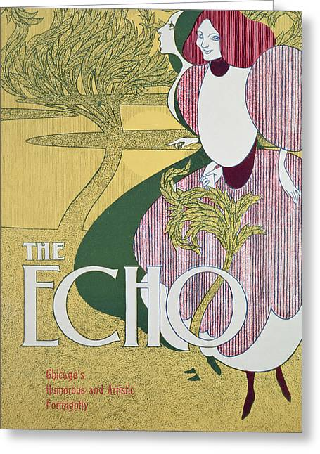 Horror Poster Greeting Cards - Front cover of The Echo Greeting Card by William Bradley