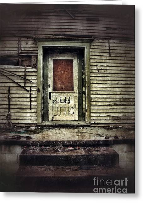 Lock Down Greeting Cards - Front Door of Abandoned House Greeting Card by Jill Battaglia