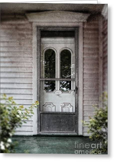 Clapboard House Greeting Cards - Front Door of Vintage House Greeting Card by Jill Battaglia