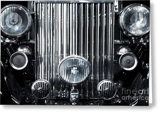 Headlight Greeting Cards - Front Grid Greeting Card by Carlos Caetano