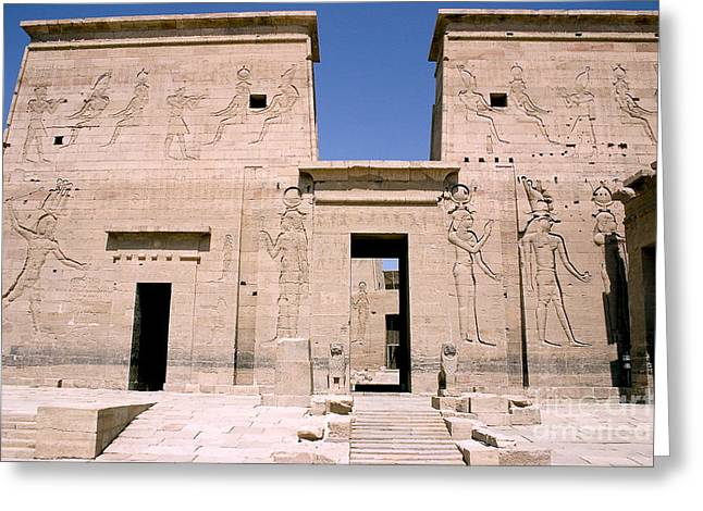 Pharaoh Greeting Cards - Front of Philae Wall Greeting Card by Darcy Michaelchuk