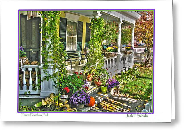 """front Porches"" Greeting Cards - Front Porch in Fall Greeting Card by Jack Schultz"