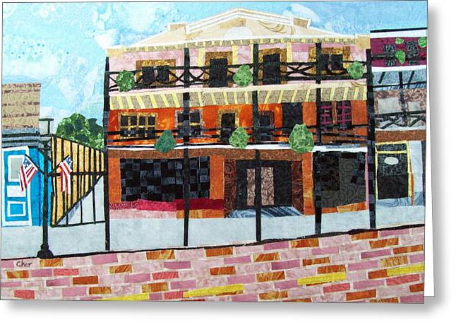 Street Tapestries - Textiles Greeting Cards - Front Street- My Favorite Block Greeting Card by Charlene White