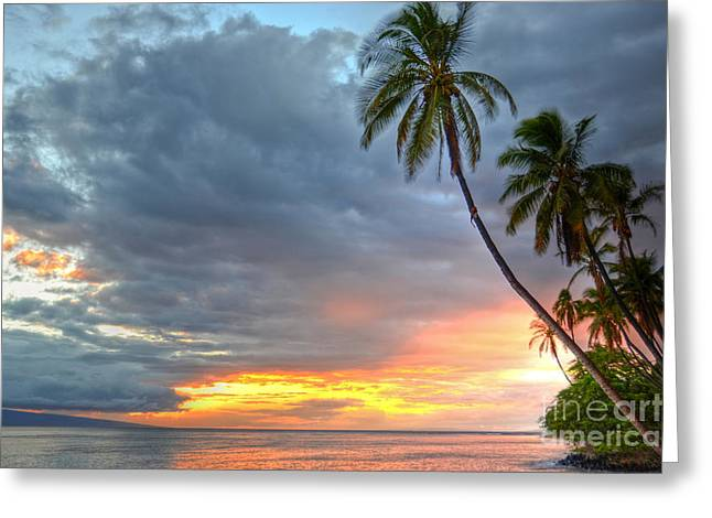 Lahaina Greeting Cards - Front Street Sunset Greeting Card by Kelly Wade