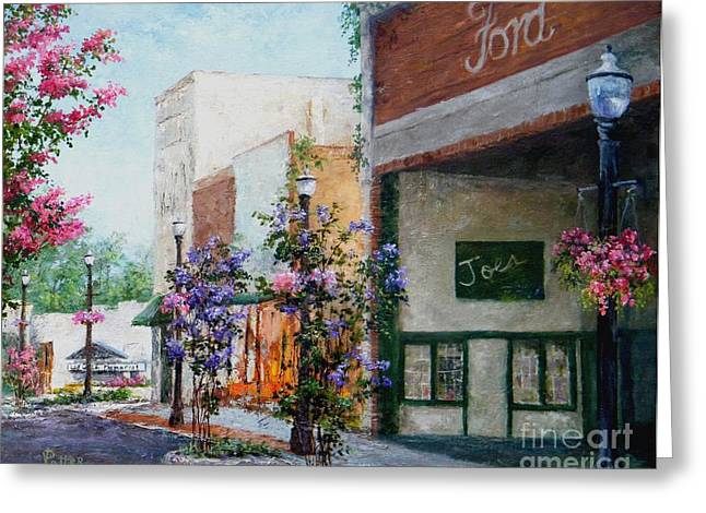 Conway Arkansas Greeting Cards - Front Street Greeting Card by Virginia Potter