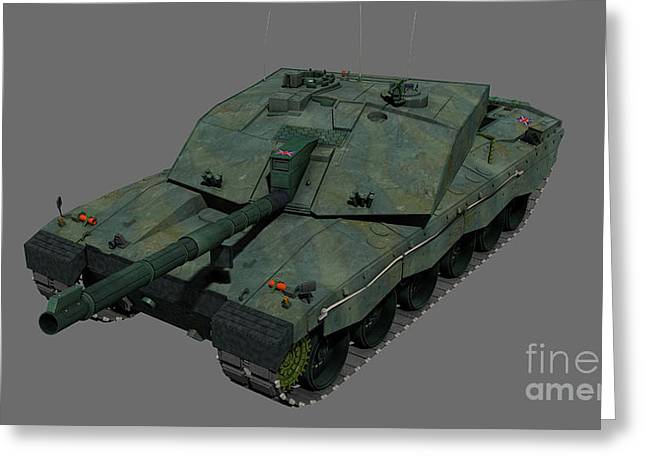 Challenger Model Greeting Cards - Front View Of A British Challenger Ii Greeting Card by Rhys Taylor